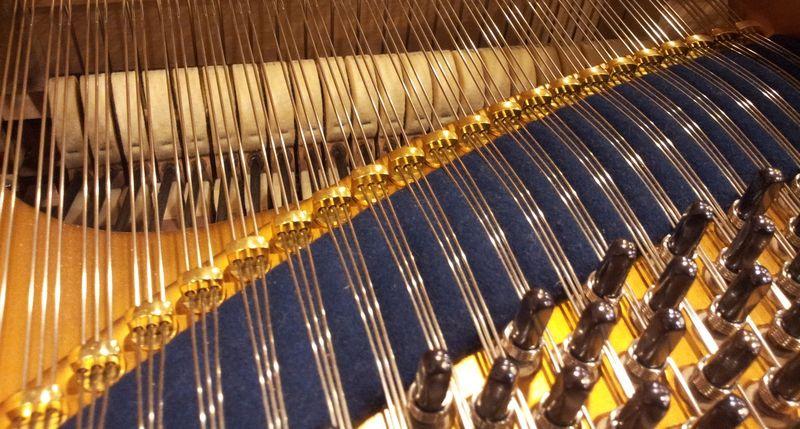 Cordes de piano coté chevilles